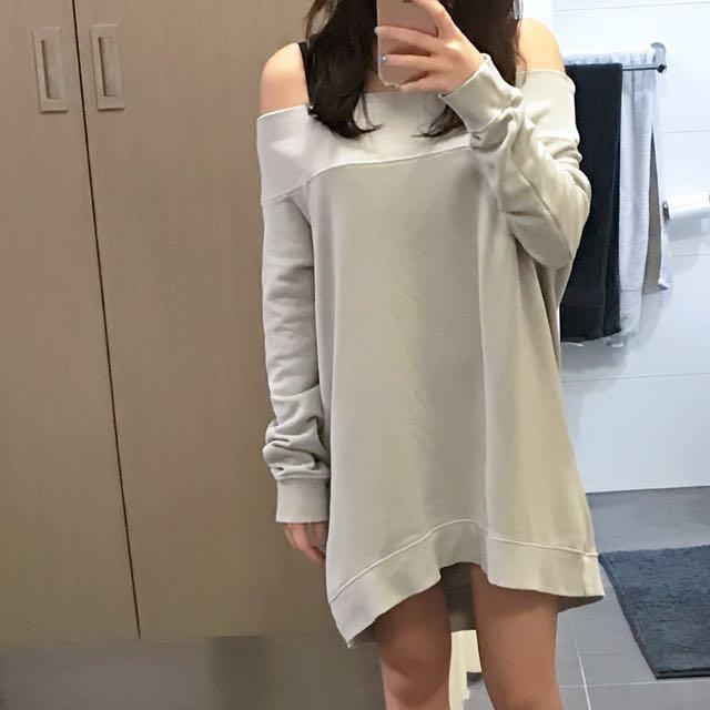 Grey off shoulder sweater dress/ top