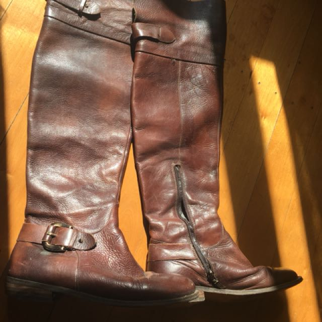 Guess over the knee high leather boots, brown