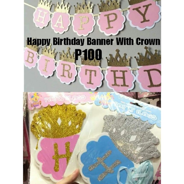 Happy Birthday Banner with crown