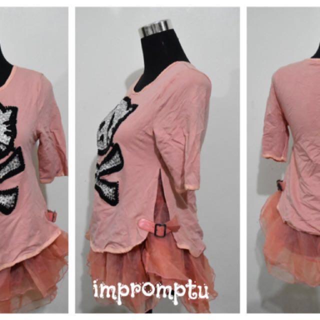 Hello Kitty Skull studded Old Rose Shirt