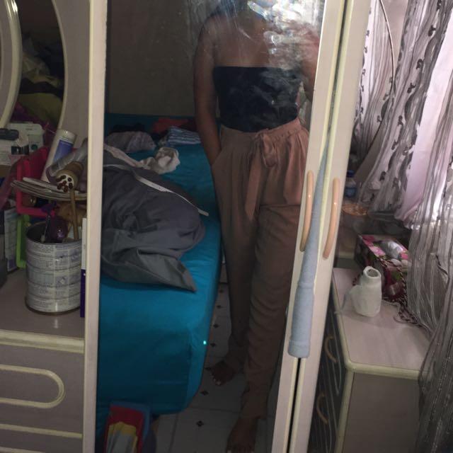 High waist blush trouser