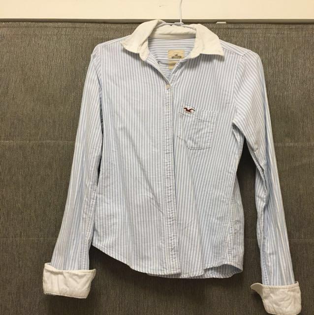 Hollister 長袖藍白條紋襯衫 #我的女裝可超取