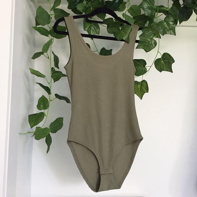 Khaki Green Basic Bodysuit