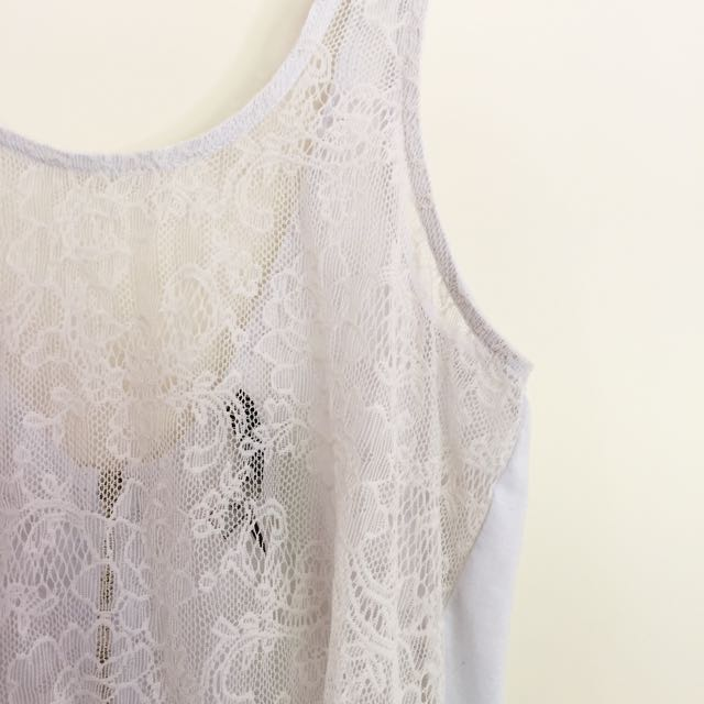 Lace tank with zip back