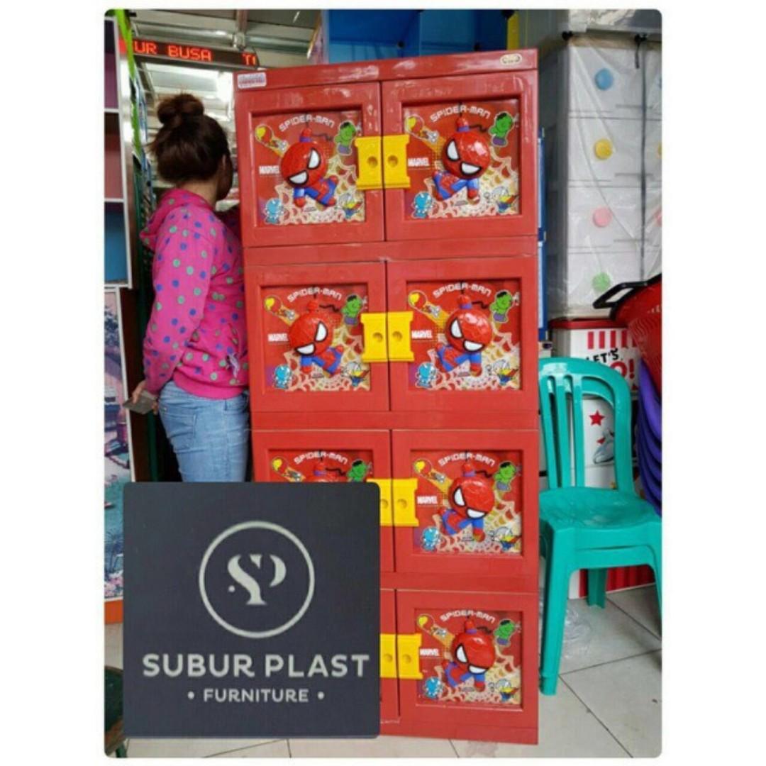 Lemari plastik lemari pakaian lemari serbaguna spiderman susun 3