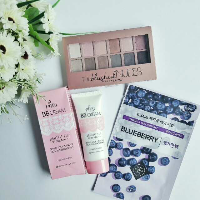 MAYBELLINE The Blushed Nudes Eyeshadow Palette + PIXY BB Cream Bright Fix + ETUDE HOUSE Therapy Air Mask