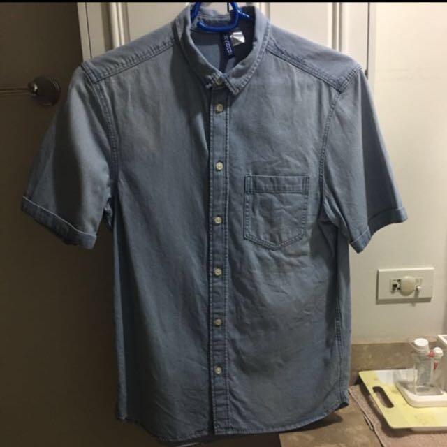 Men's H&M Button Down Denim Polo size small