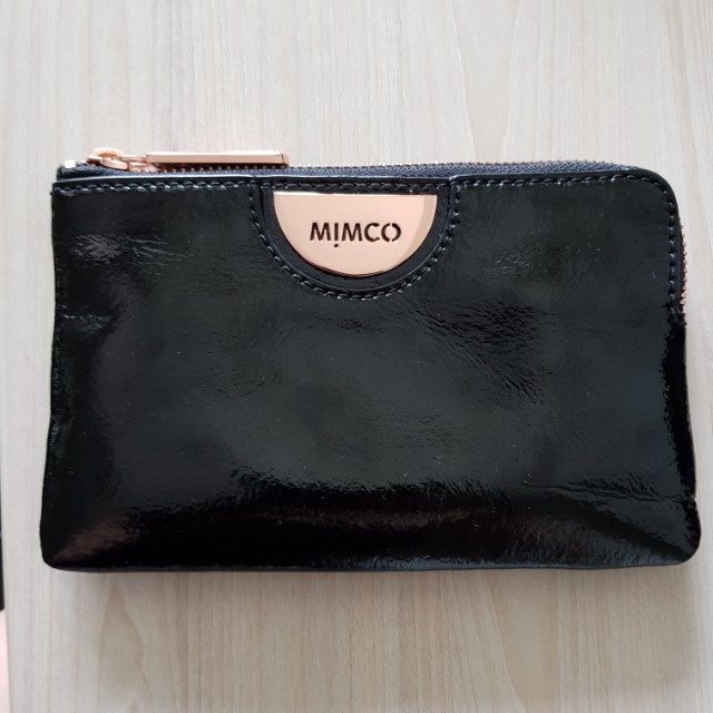 Mimco small echo pouch black rose gold
