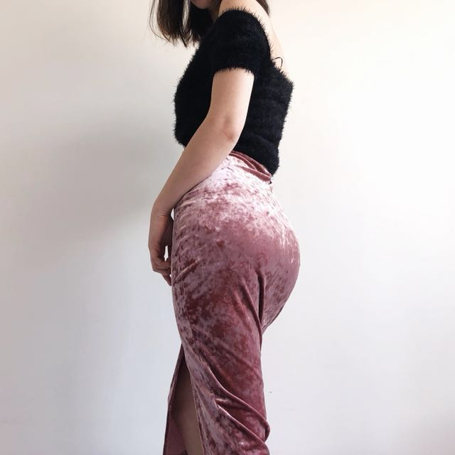 Missguided velvet midi skirt