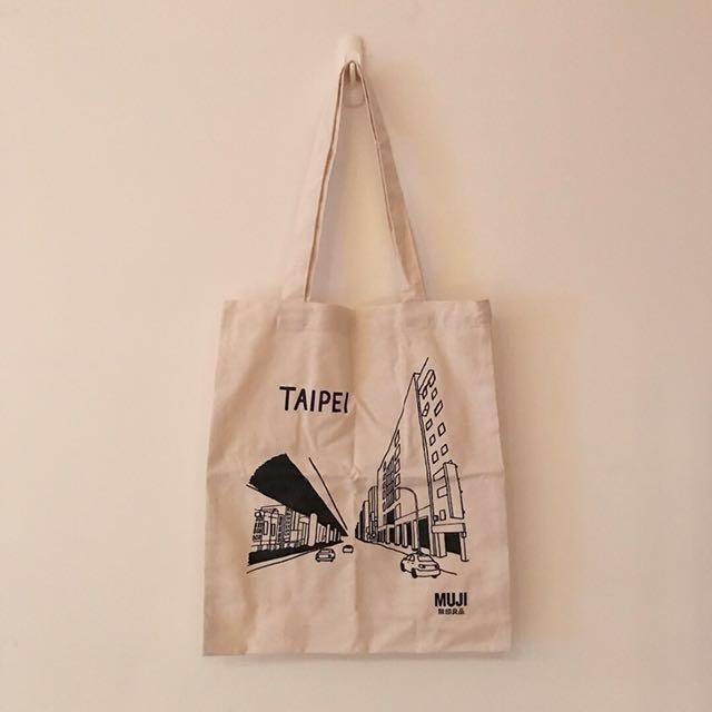 Muji無印良品 台北街景插畫帆布包