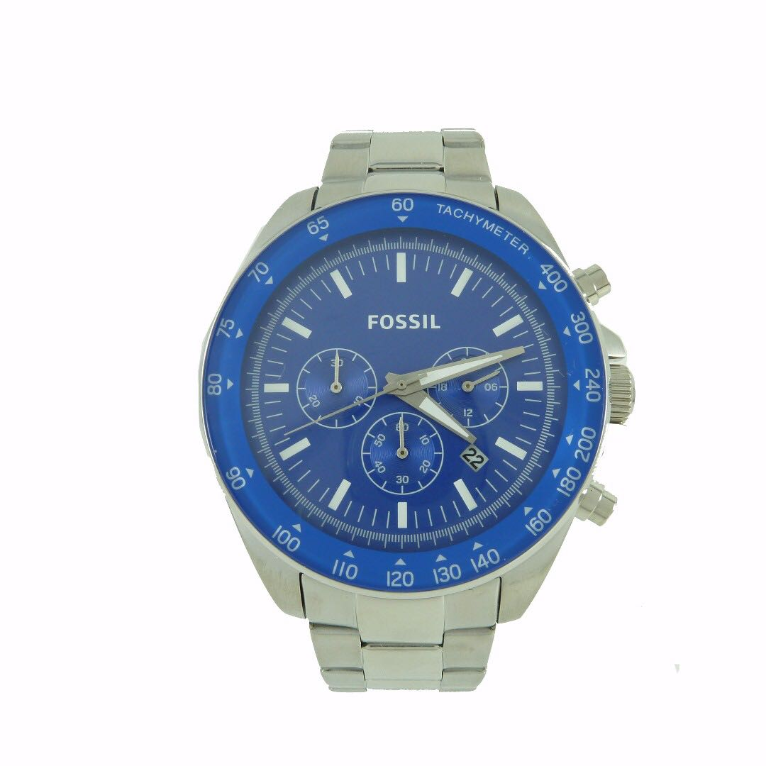 NEW AND AUTHENTIC FOSSIL BQ2172 CHRONOGRAPH BLUE DIAL STAINLESS STEEL