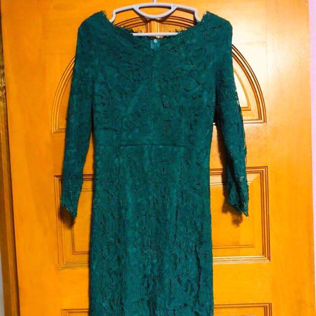 Emerald Green Lace Dress