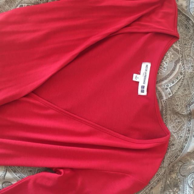 OneInes de la Fressange wrap around dress size 8 - soft red