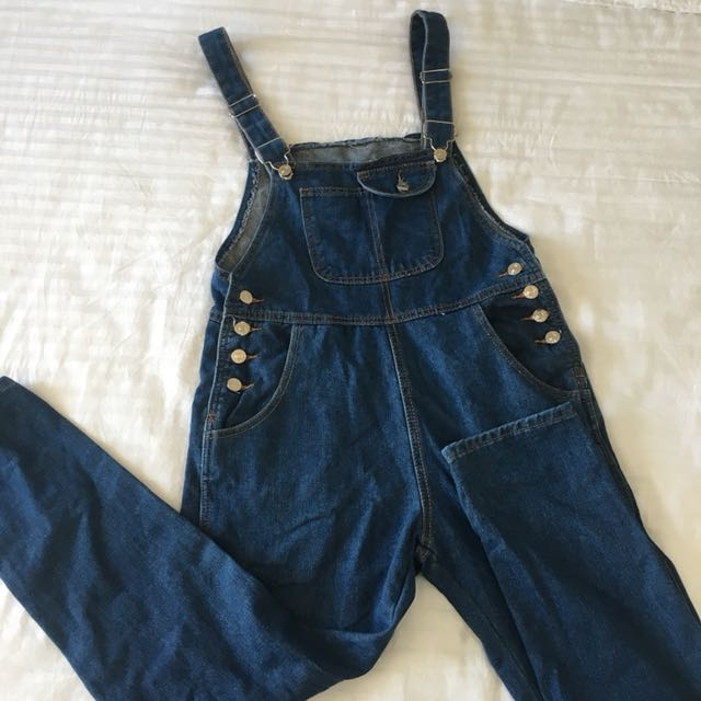Overall dark blue denim pants