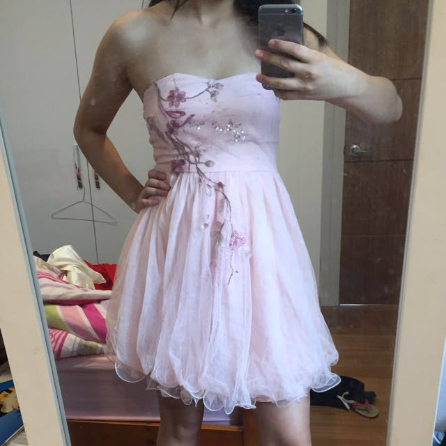 Pink Embroidered Mini Dress with Poofy Mesh Layers