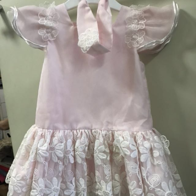 Pink Floral Lace dress with headpc (12mos)