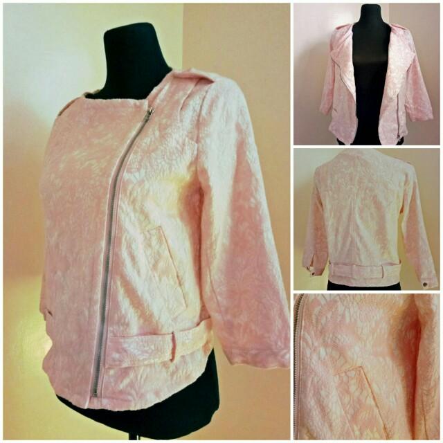 Pink Lace Print Motorcycle Jacket