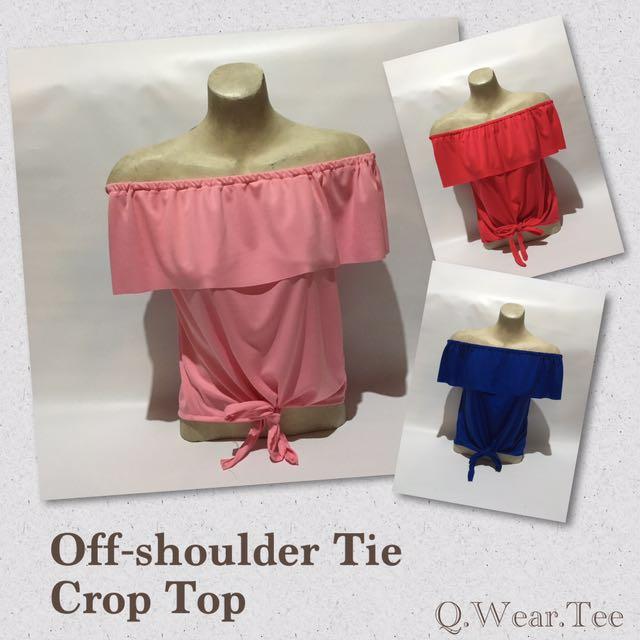 Plain 2 Way Off Shoulder Top with Tie Bottom Adjustable to Crop Top