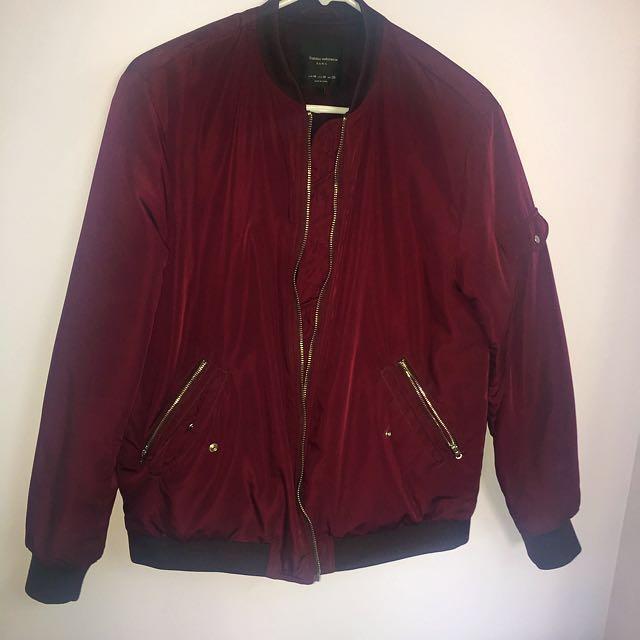 PRICE DROP✨ Zara burgundy bomber jacket