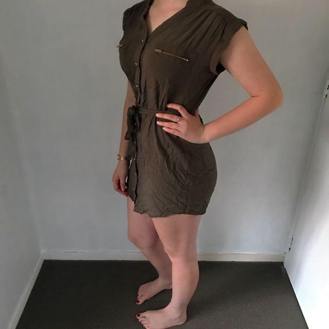 *Price Negotiable* Khaki Button Up Dress