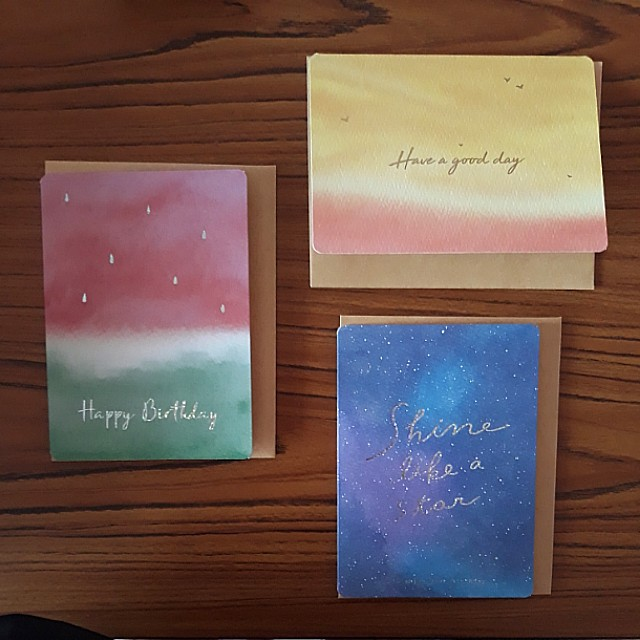 Printed watercolour tumblr style birthday greeting cards set of 3 photo photo bookmarktalkfo Images