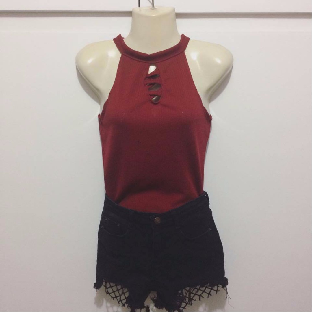 Red Halter Criss-Cross Top