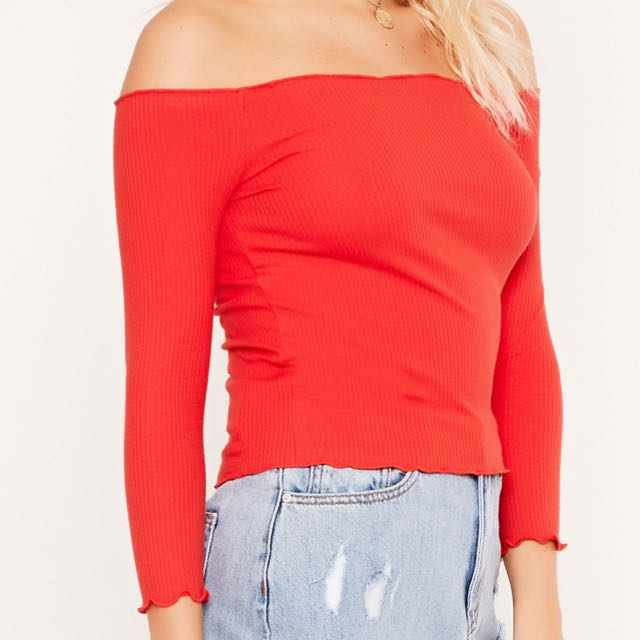 Red ribbed off the shoulder top SMALL