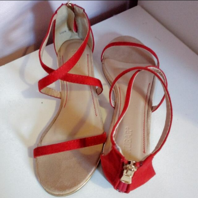 Shubar red sandals with gold rim