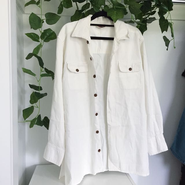 Ribbed White Button Down T-Shirt
