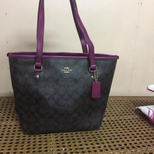 49d1219a11b93 ... switzerland coach signature zip top tote bag black brown bright fuchsia  f23867 luxury bags wallets on