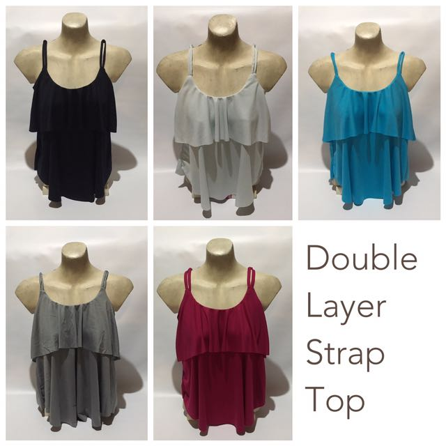 Shanell Double Layer Double Strap Sleeveless Tank Top Blouse