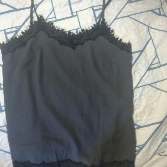 Slip black & grey lace top