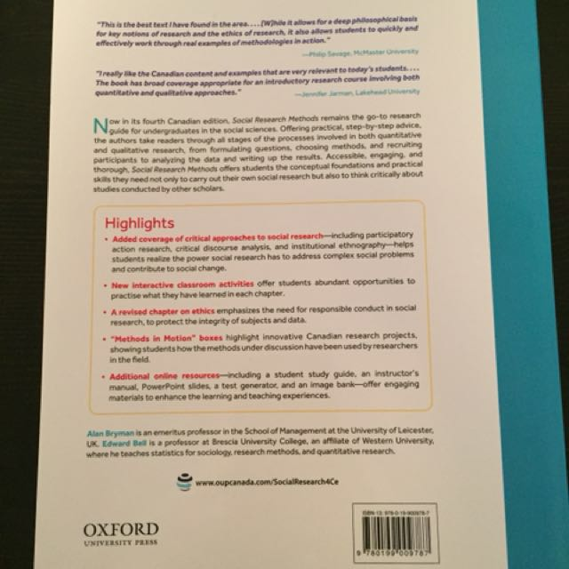 Social Research Methods. Fourth edition