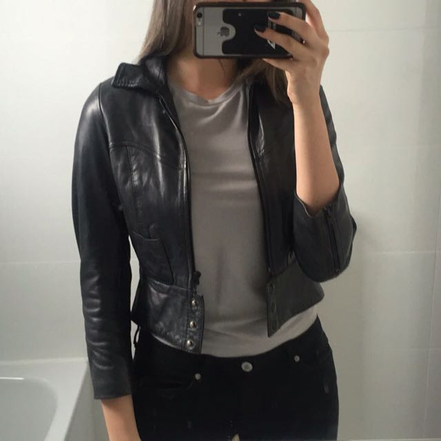 bf37238f6 Topshop Kate Moss Leather Jacket - Mini Crop Length, Women's Fashion ...