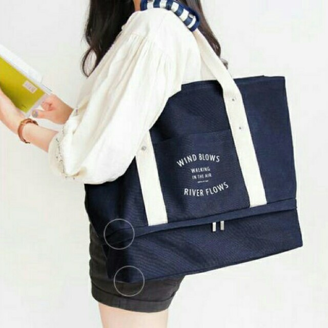 Travel tote bag with compartment (navy blue)