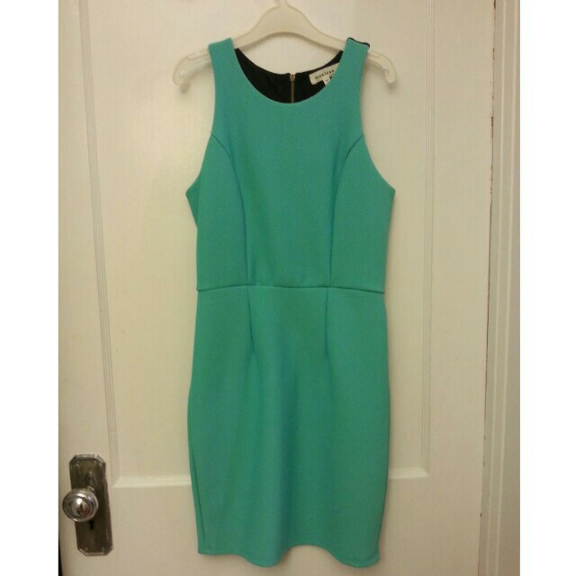 Turquoise Bodycon Dress with cut-outs