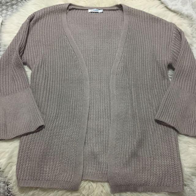 Valleygirl Beige Grey Cardigan Sweater S