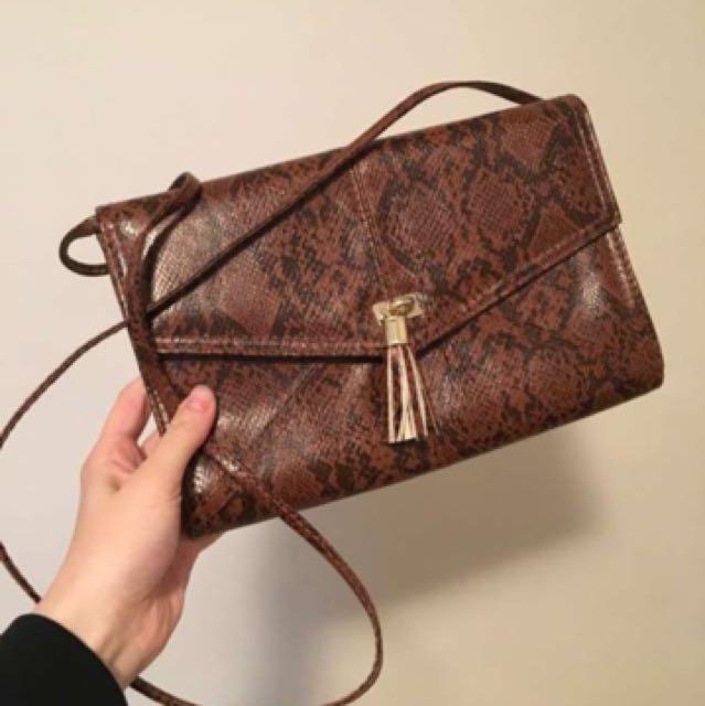 Vegan snakeskin purse