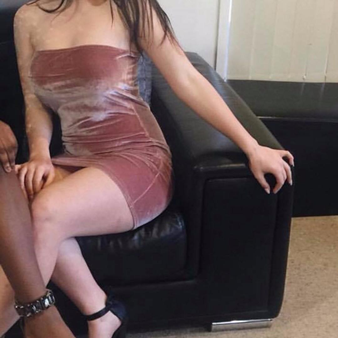 Velvet Strapless Bodycon Pink Dress
