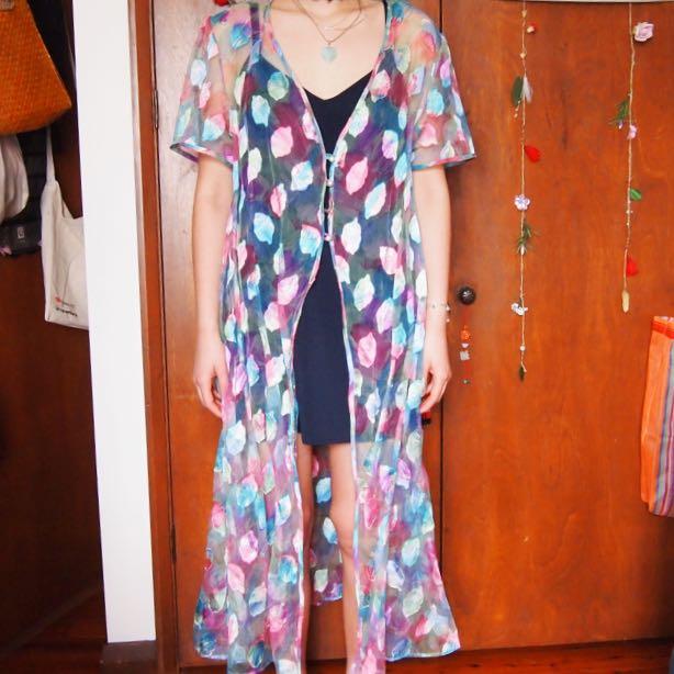 Vintage Rainbow Sheer Dress