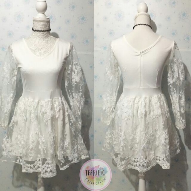 White Lace Long Sleeves Dress