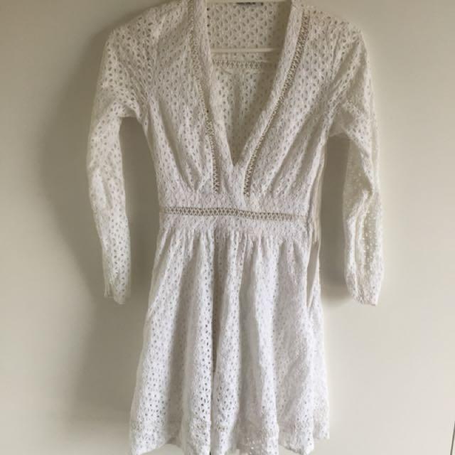 White lace mini dress | Size 8 AU