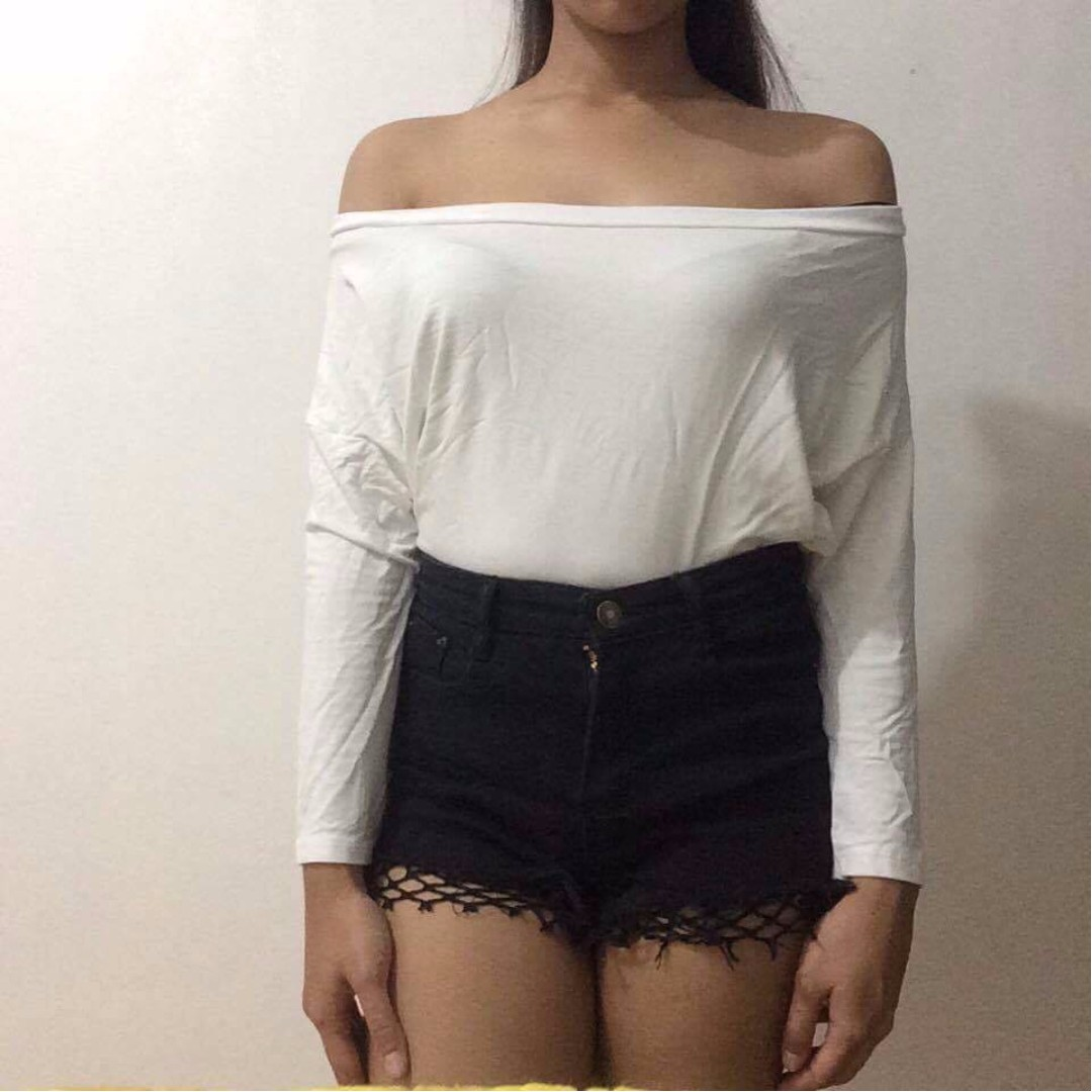 White Off-shoulder Long Sleeves