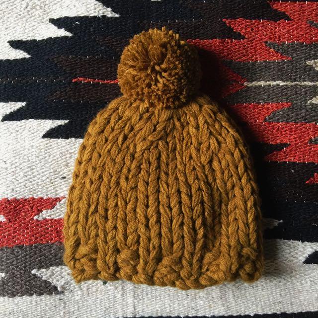 Zara編織毛帽 芥末黃