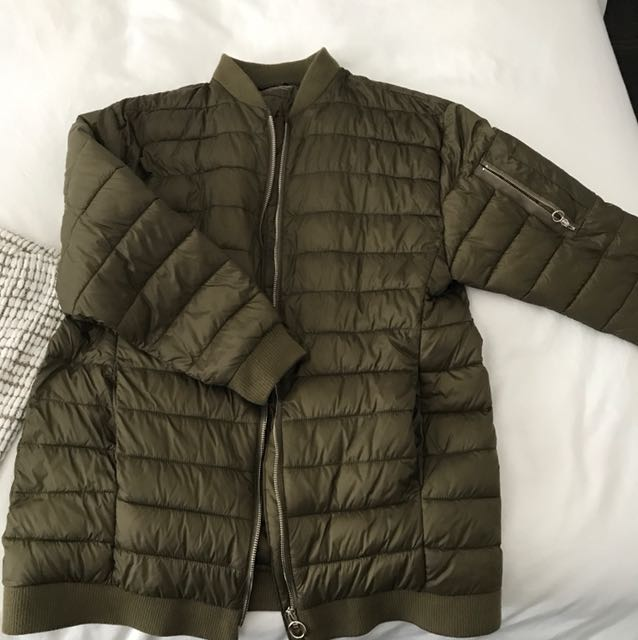 Zara green puffer jacket