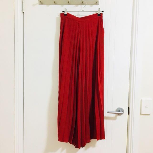 Zara red pleated wide leg pants