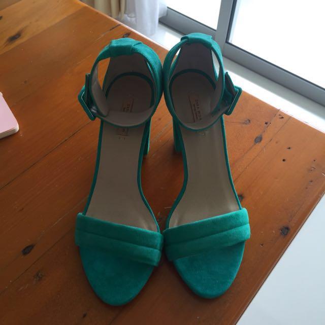 Zara Sandles, Never Worn, Size 38, 9 Cm Heel, Suede Look.