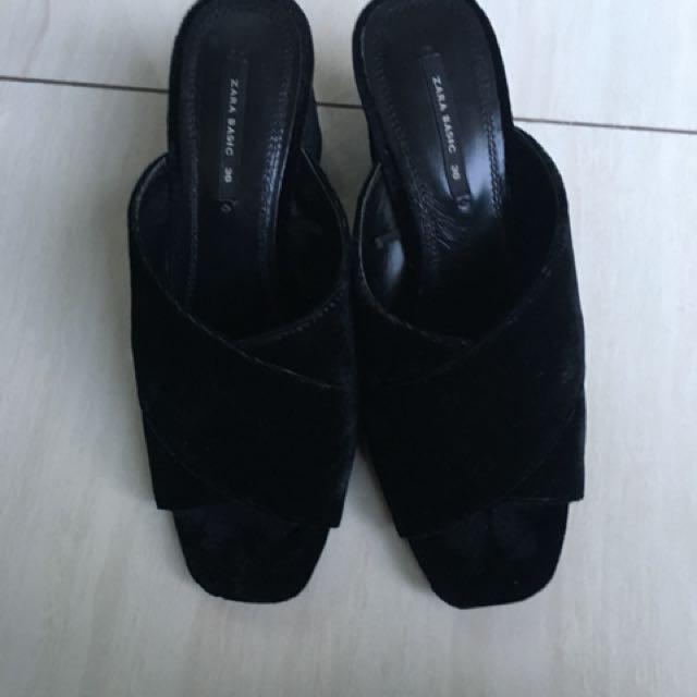 Zara women heels platform mules black 36