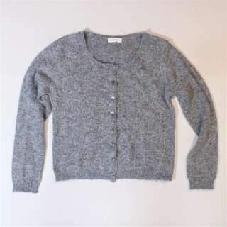 日本製 CHADORIAN 麻花灰毛海針織外套 含安哥拉山羊毛