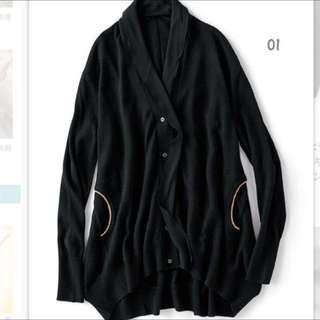 洋毛開襟長版外套